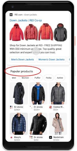 """谷歌自然搜索新增""""热门产品""""展示页(谷歌优化新功能)"""